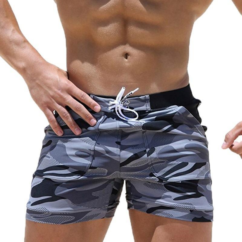 New Swimming Trunks Homens Swimwear Shorts respirável Men Swimsuit camuflagem Boxer Briefs Praia Shorts S-3XL