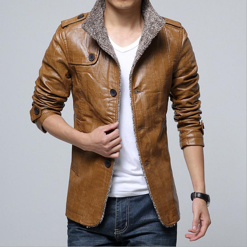 2018Men Autumn Winter Leather Jacket Motorcycle Leather Jackets Male Business casual Coats Cashmere Jacket
