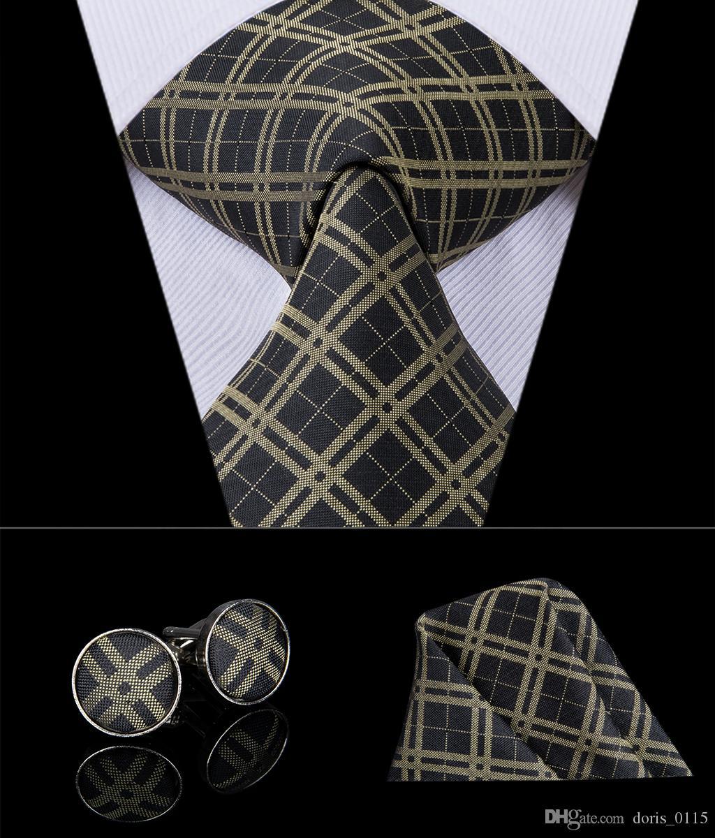 HI-TIE Classic Golden Black Plaid Mens Ties for Men Wedding Party Business Tie Handkerchiefs Cufflinks Set N-3010