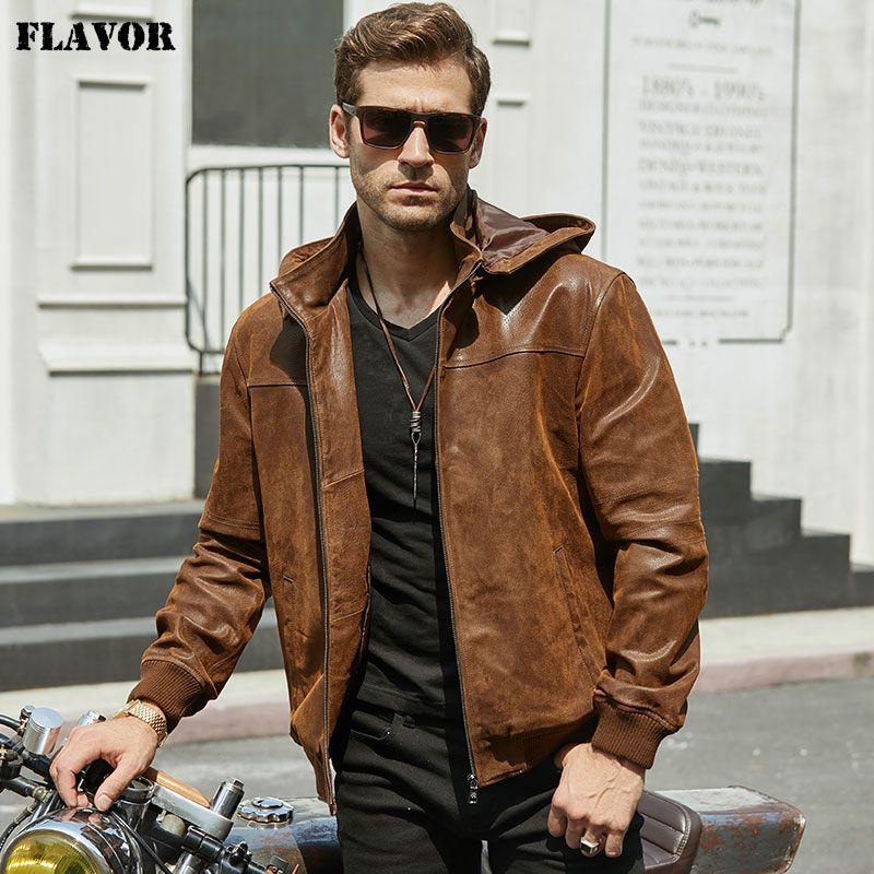 Chaqueta de invierno de los nuevos hombres hechos de cuero genuino piel de cerdo con una capucha, chaqueta de piel de cerdo de la motocicleta, chaqueta de cuero natural