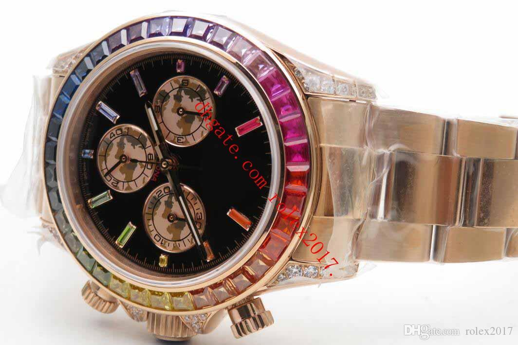 Productos para hombres OM Factory Caliber 4130 116595 18K Rose Gold Pearl Subdials Steel 316F Rainbow Color De Color De Color Relojes Automáticos