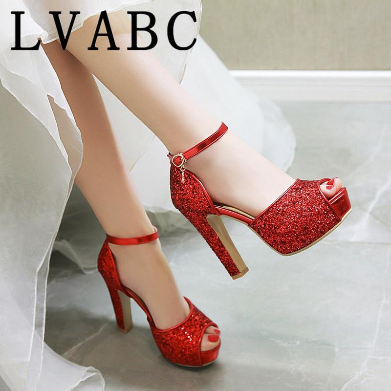 Verano tacones altos mujeres de las sandalias 2020 de Bling peep toe zapatos de boda de la correa del tobillo de la plataforma de plata calzado sandalias femeninas