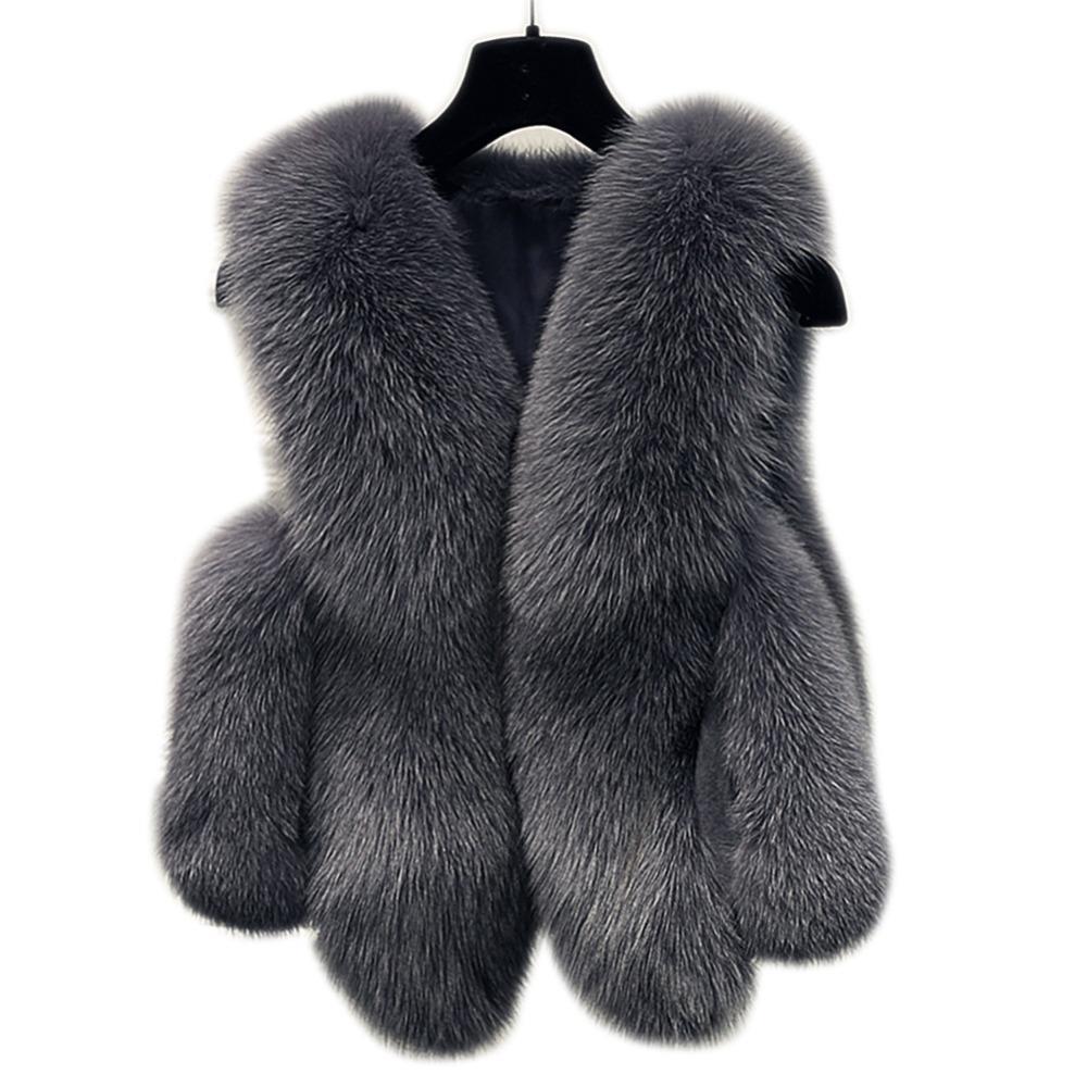Mulheres Jacket 2018 espessa camada Quente Brasão Faux Fur Vest Outerwear Womens inverno Faux Fur Vest Feminino Plus Size 3XL
