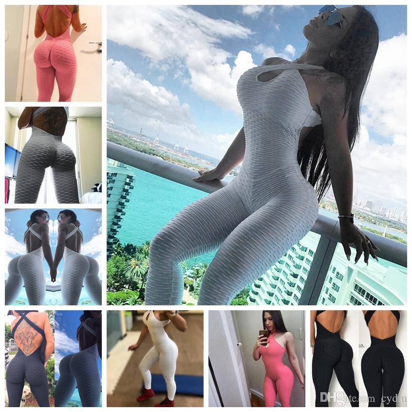 2019 avrupa moda trendi seksi backless yoga spor pantolon kalça tulum, beyaz, gri, siyah, pembe, destek karışık toplu