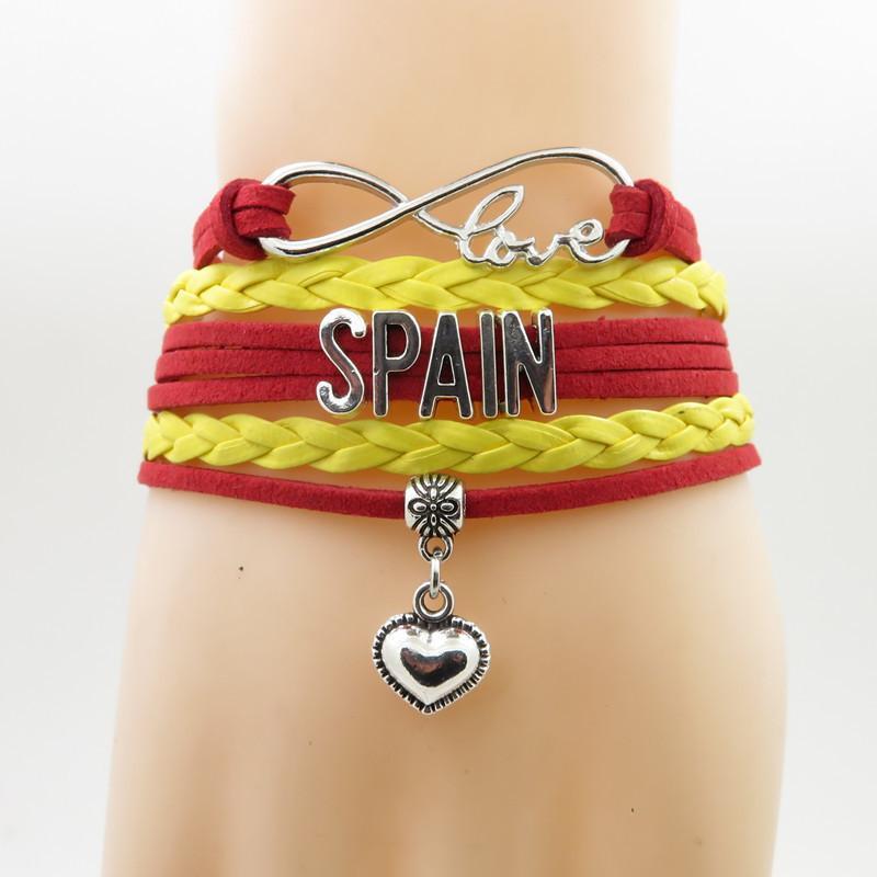 Infinity Love Spain Bracelet Heart Charm Bracelet Love Spain Pulseras de brazaletes para mujer y hombre