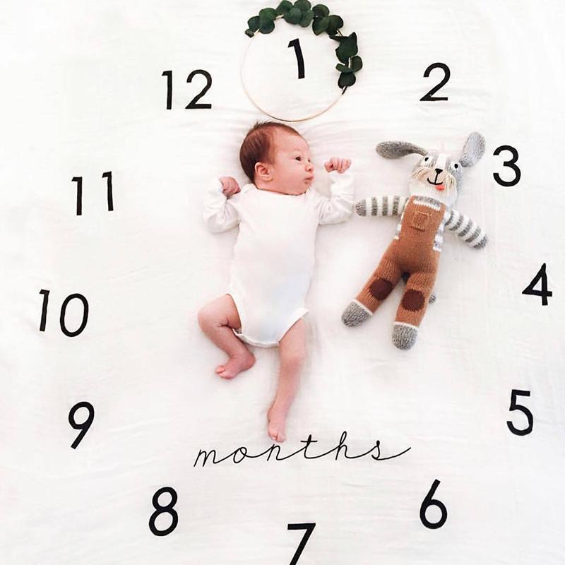 아기 담요 신생아 Swaddle 유모차 침구 랩 사진 배경 월별 성장 번호 사진 소품 의상