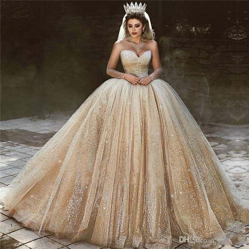 Lüks Arapça Şampanya Gelinlik 2020 Sequins Prenses Balo Kraliyet Gelinlik Sevgiliye Boncuk Sparkly Prenses Gelinlikler
