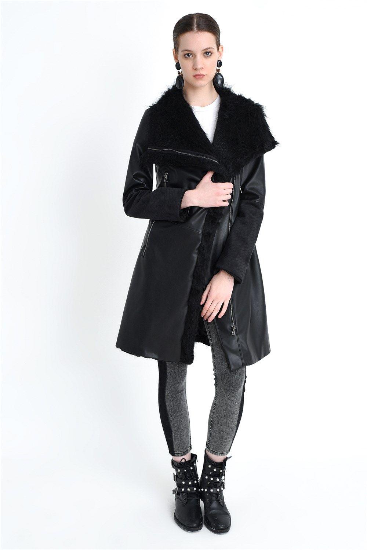 Z6614 DEWBERRY FEMMES FURRY COAT EN CUIR NOIR