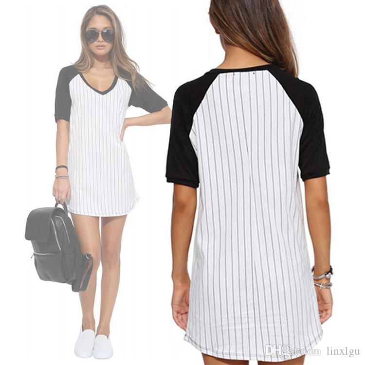 New women's loose round neck contrast color short-sleeved chiffon stripes loose casual hooded bottom skirt T-shirt LGU