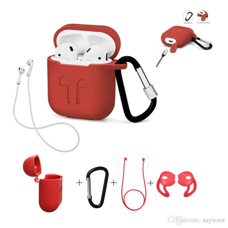 3in1 capa de silicone antiderrapante capa de fones de ouvido bolsa de proteção da pele anti-perdida fio earphone wireless earphone case para apple airpod