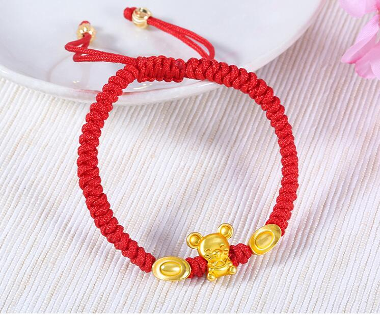Real 24K Yellow Gold Chain 3D Year of the Mouse Ingots Bracelet For Women Baby Good Luck Loving Mouse Zodiac Red Rope