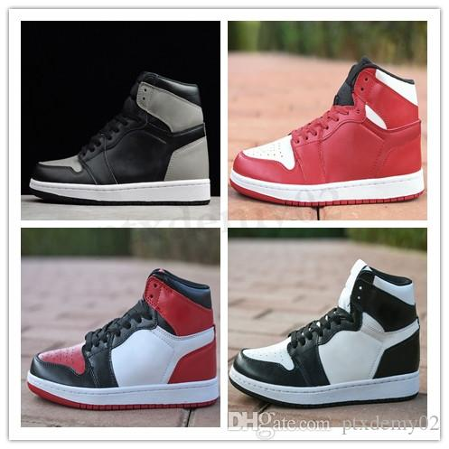 NIKE Air Jordan 1 Retro 1s Hommes Basketball Chaussures Black Gold Toe Top 3 Mid Bred Chaussures Designer Multi Color 1 PSG Banned Pin vert Sport Sneakers TL03