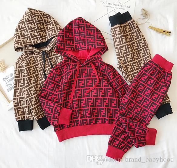 A002 Çocuk Tasarımcı Giyim Yeni Lüks Print eşofman Moda Letter ceketler + Koşucular Günlük Spor Stil Kazak Erkekler Kızlar ayarlar