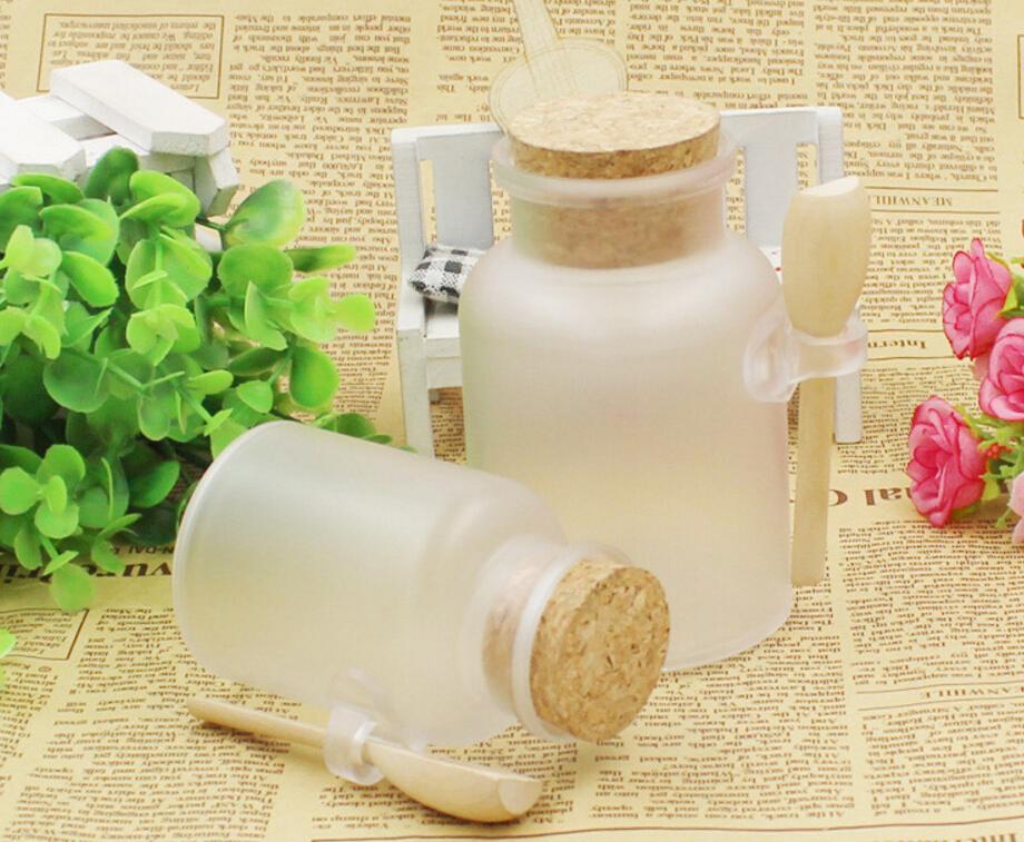 200ml Powder Plastic BottleABS Round Bath Salt Bottle with Cork Jar with Wood Spoon,Packaging Bottle