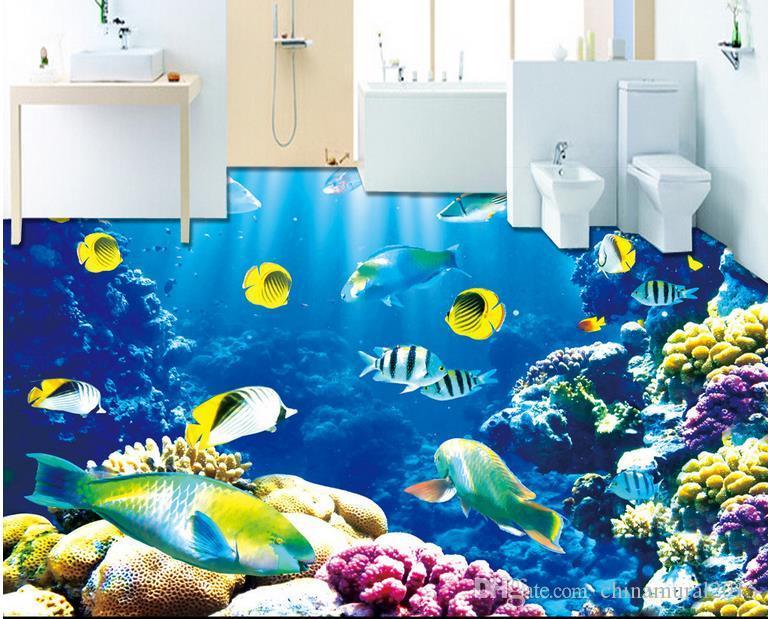 Mundo submarino 3D delfín baldosas del suelo Pisos 3D PVC Pintura de suelo a prueba de agua Mural Custom Photo 3D Wall Murals Wallpaper