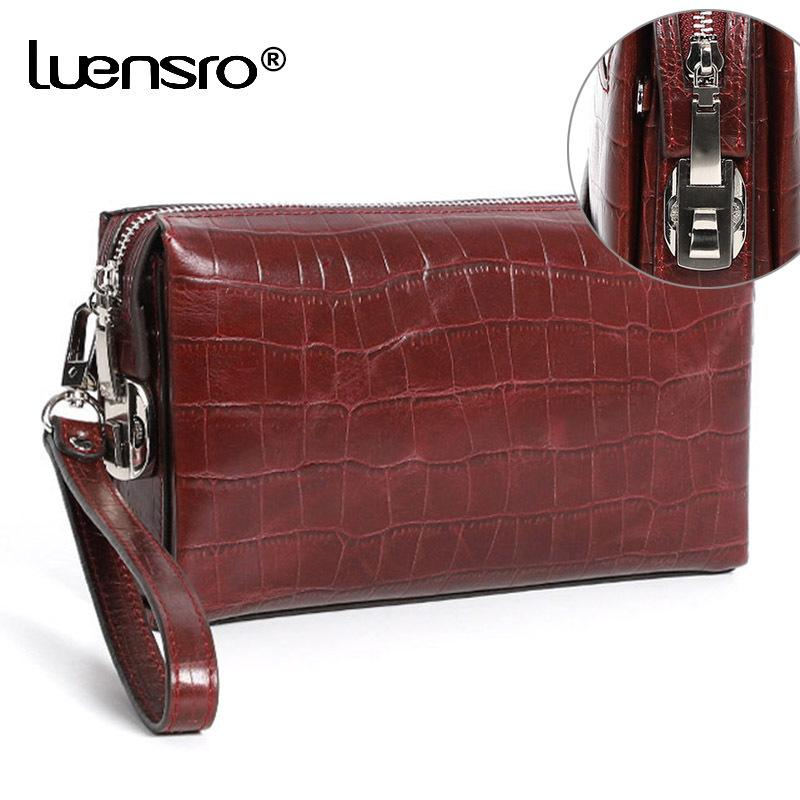 Luensro الرجال محافظ مشفرة قفل جلد طبيعي زيبر طويل محفظة مع كلمة السر حماية مخلب حقيبة مكافحة سرقة الذكور محفظة Y19052104