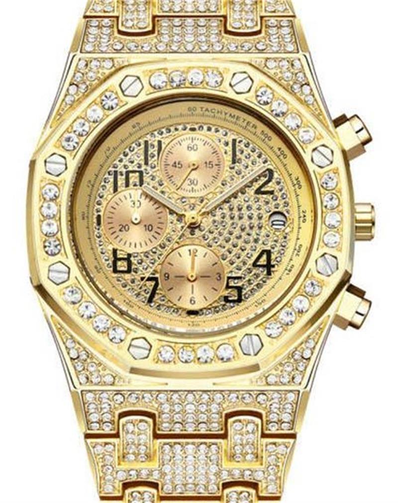 los hombres de moda reloj de diamantes Movimiento Royal Oak Offshore reloj de diseño femenino mira el acero hacia fuera helado reloj Montre de luxe función de temporización