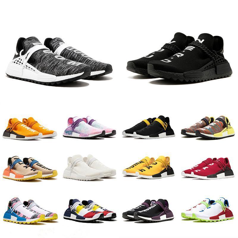 2019 Human Race Hu trail pharrell williams мужские кроссовки ботан черный синий женщины мужские тренеры мода спорт бегун кроссовки открытый обувь