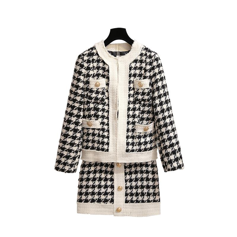 PERHAPS U women black white houndtooth tweed jacket mini skirt pencil 2 two pieces set elegant plaid button T0118