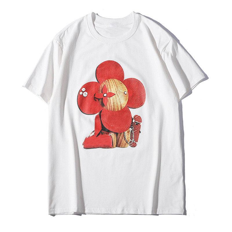 New Mens Verão Camiseta Casais algodão macio mangas curtas Fashion Trend Casual Sun Flower Imprimir Homens Mulheres Tees