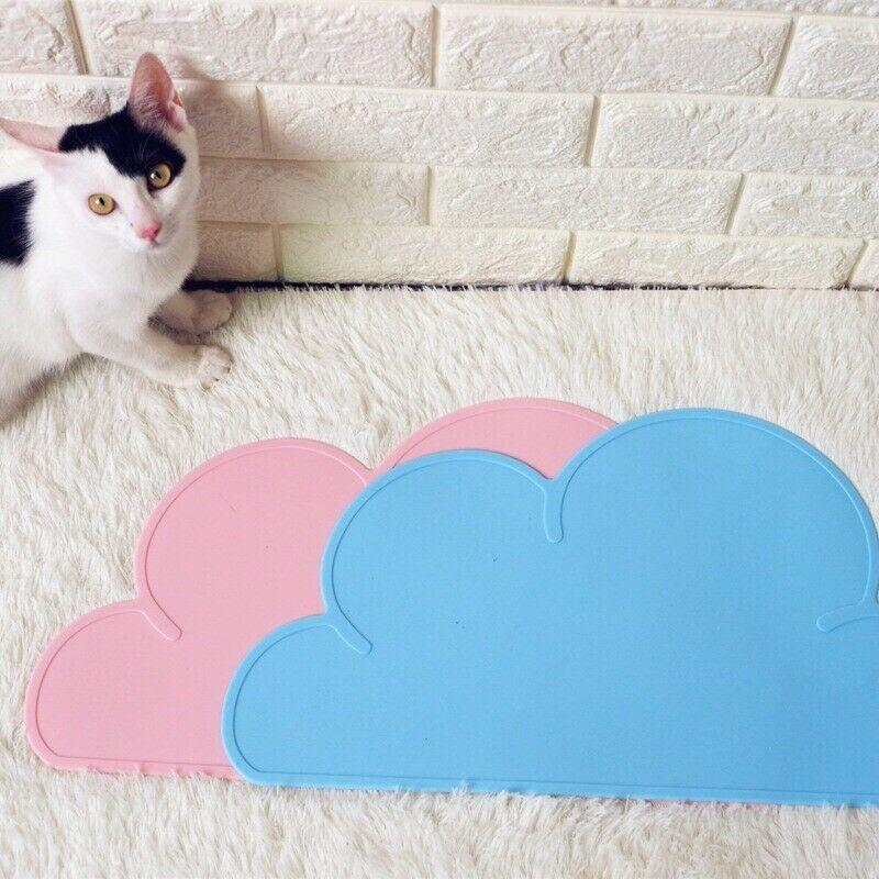 Silicone Pet Food/Water Bowl Feeding Mat Cloud Shape Rubber Placemat Puppy Kitty Dish Bowl Feeding Food Mat