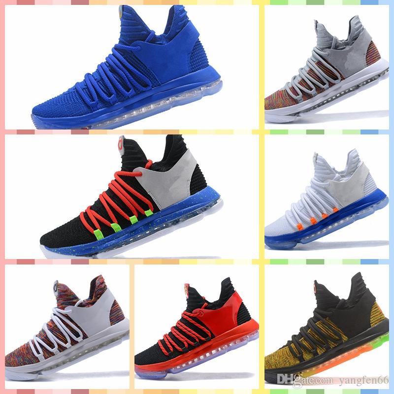 Durant ZOOM KD10 KD 10 EP 2019 Hot venda Zoom KD10 EP Mens tênis de basquete PE BHM Oreo Branco Chrome arco-íris lobo cinzento Kevin Durant Designer Sneakers size40-46