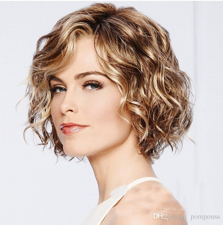 Hot sale women short roll and fluffy cosplay head sets high quality hair lace wigs for free shipping