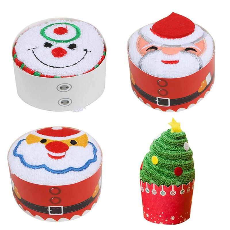 30x30cm Merry Christmas Gift Cup Cake Cotton Towel Xmas New Year Decoration Cupcake Santa Claus Decor For Home Kids Children