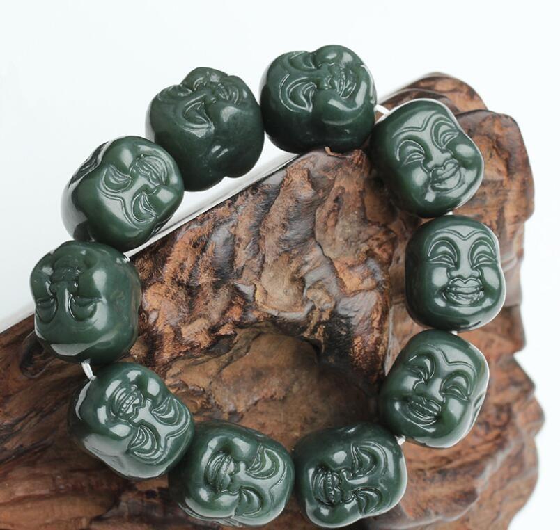 Natürliche Xinjiang Hetian Jade Saphir Buddha-Kopf-Armband für Männer und Frauen Maitreya Buddha-Kopf-Jade-Armband Großhandel