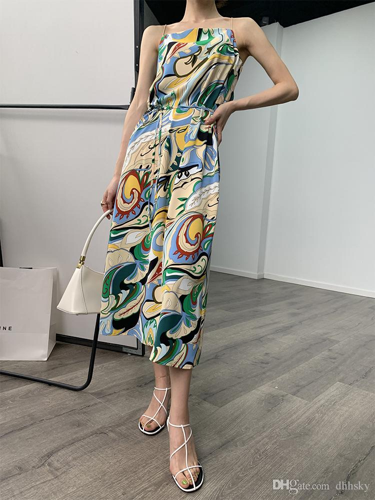 Новая весна 2020 Юсеф aljasmi Абстрактный жгуто платья собрались талия пояс длинного джокер темперамент печатных юбка холста
