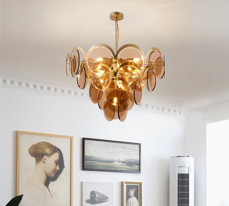 Post-moderno Pedant luci lusso Lampadario Ambra cristallo Lamp Art personalità semplice Grigio fumo di vetro d'attaccatura del salone della lampada LLFA