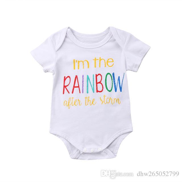 0-18 M Bebê Recém-nascido Infantil Do Bebê Das Meninas Dos Meninos Rainbow RomperS Jumpsuit Roupas de Verão Impresso Branco Sólido Jumplsui Outfitst