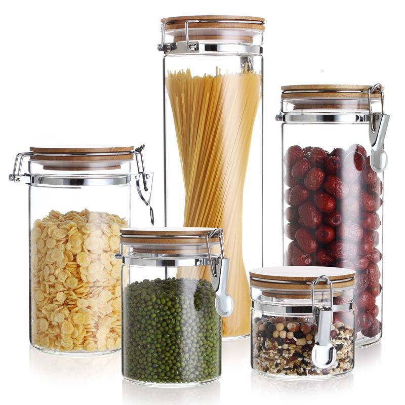 Aufbewahrung Flaschen Glasbehälter mit Deckel Gewürze Konditor Lebensmittel Sundries Tee Kaffee Zucker Sealed Küche Mason Jar SH190925