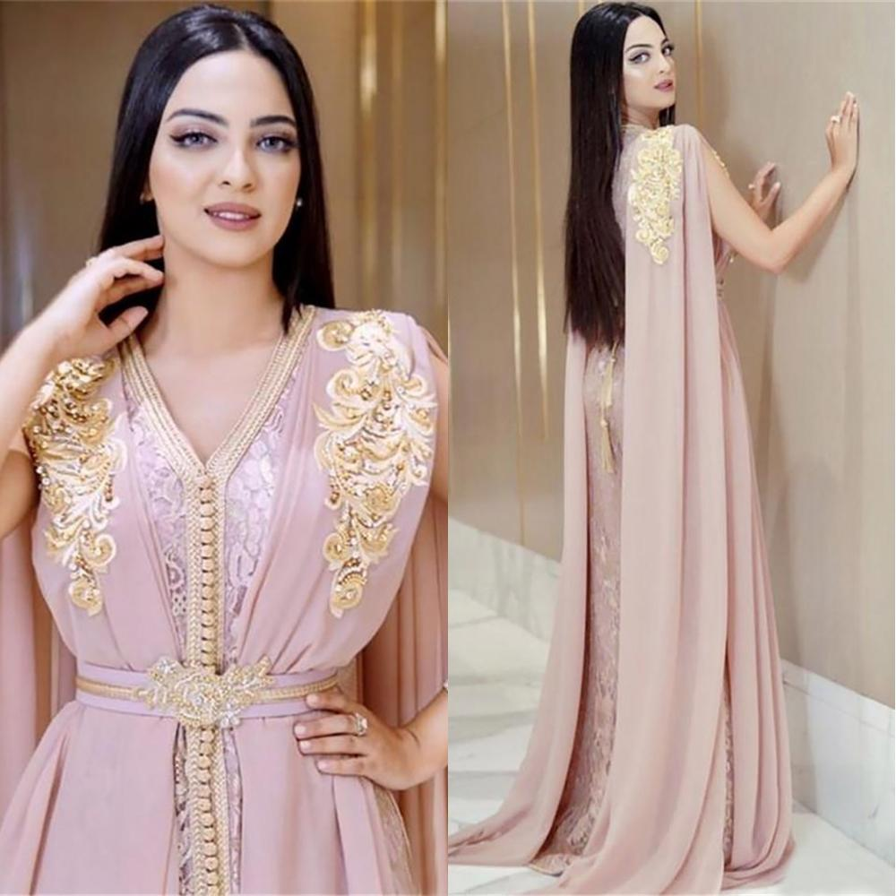 Vestidos Dubai Nueva rubor rosa con cuentas musulmanes largos vestidos de noche de lujo marroquí Kaftan vestido de gasa con cuello en V vestido formal del partido de tarde