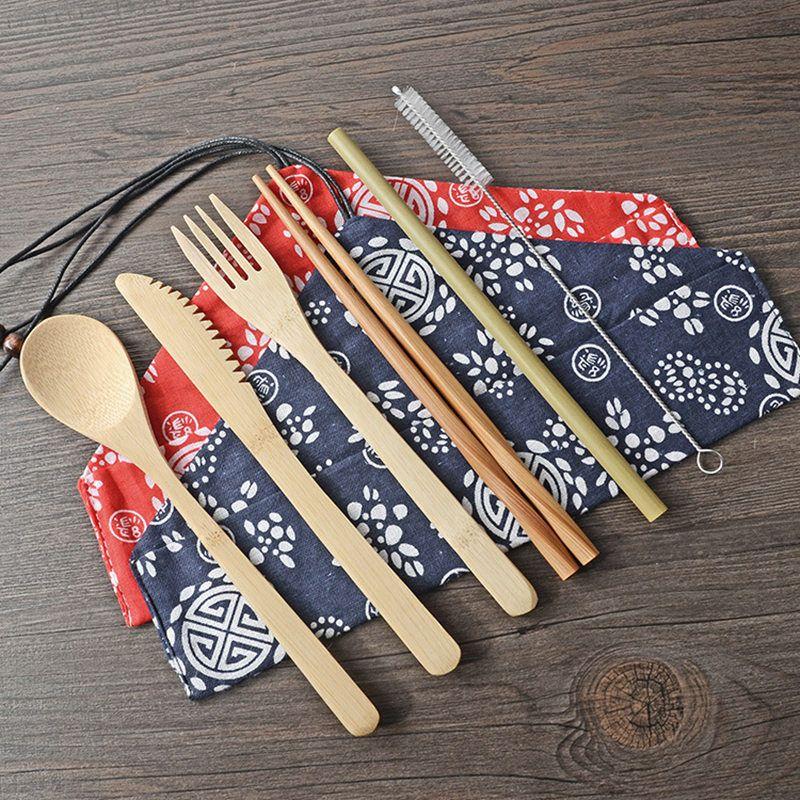 6 PC / Set Bambus Bestecke tragbares einfach Tragen Geschirr Set Bambus Stroh Besteck Satz mit Beutel und Bürsten Outdoor-Camping-BH2302 CY
