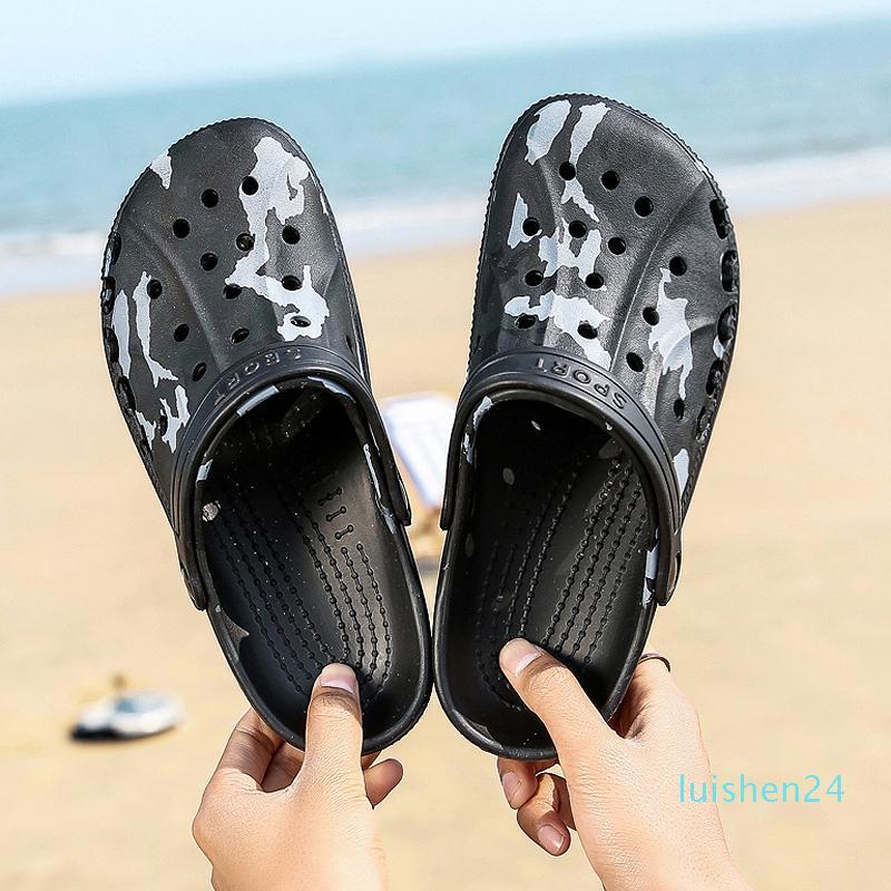 Zapatillas simple camuflaje de moda del todo-masculino estudiantes playa del deslizador de los hombres clásicos de alta calidad de los zapatos simples Nueva L24