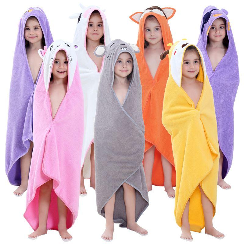 Crianças Banho 0-7 anos de menina Pijama recém-nascido Menino com capuz Animal dos desenhos animados bonito Ear veste de banho do bebê toalhas coloridas do algodão WED