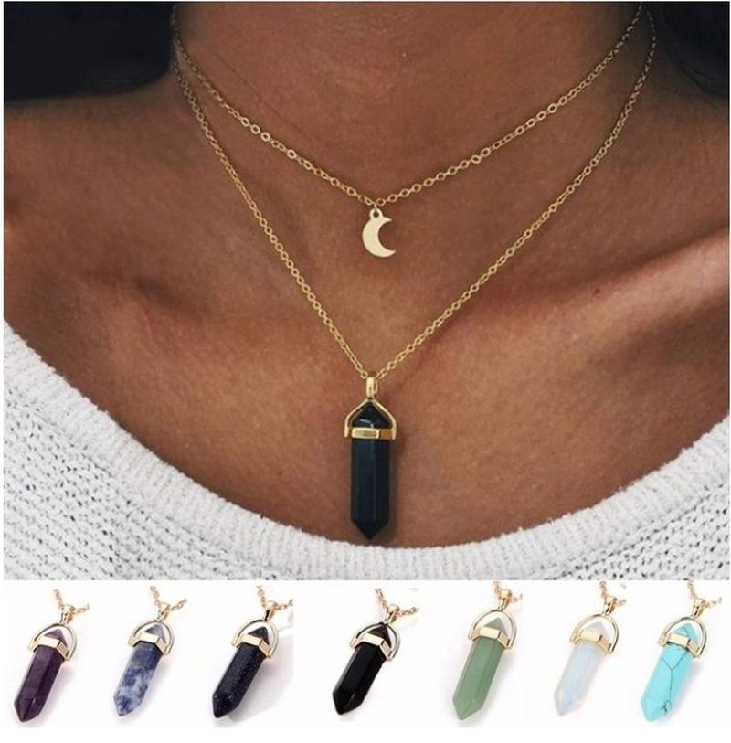 Многослойные Crystal Rose ожерелье женщин золото Moon Star Horn Crescent Choker Ожерелья Природный камень Золотые цепи Серебряные женские ювелирные изделия