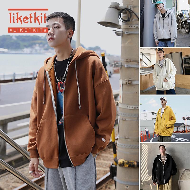 Liketkit sudaderas para hombres invierno 2019 masculino sólido suelto Cardigan con capucha para hombre de Harajuku de gran tamaño de Hip Hop paño grueso y suave grueso de Calle
