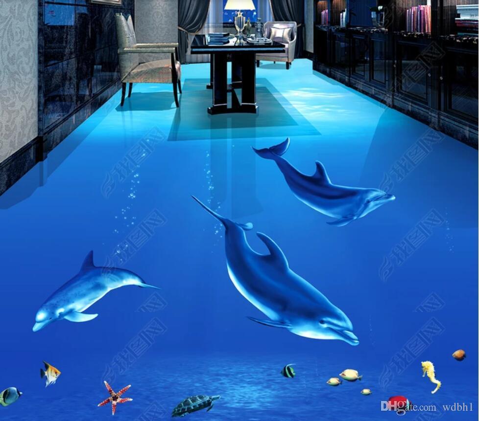 3d ПВХ полы пользовательские фото водонепроницаемый пол стены красивый Дельфин подводный мир 3D стерео ванная комната живопись 3d настенные росписи обои