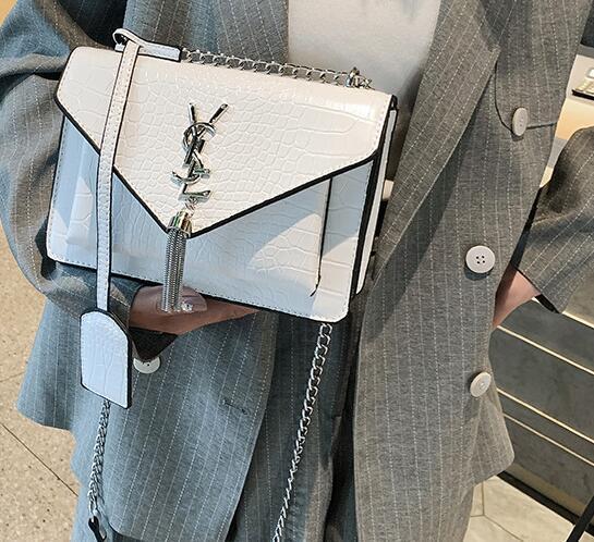 Роскошная сумка сумки Портативный Модный крокодил крест тела мешок кисточками пу мешок плеча корейской цепи небольшой площади