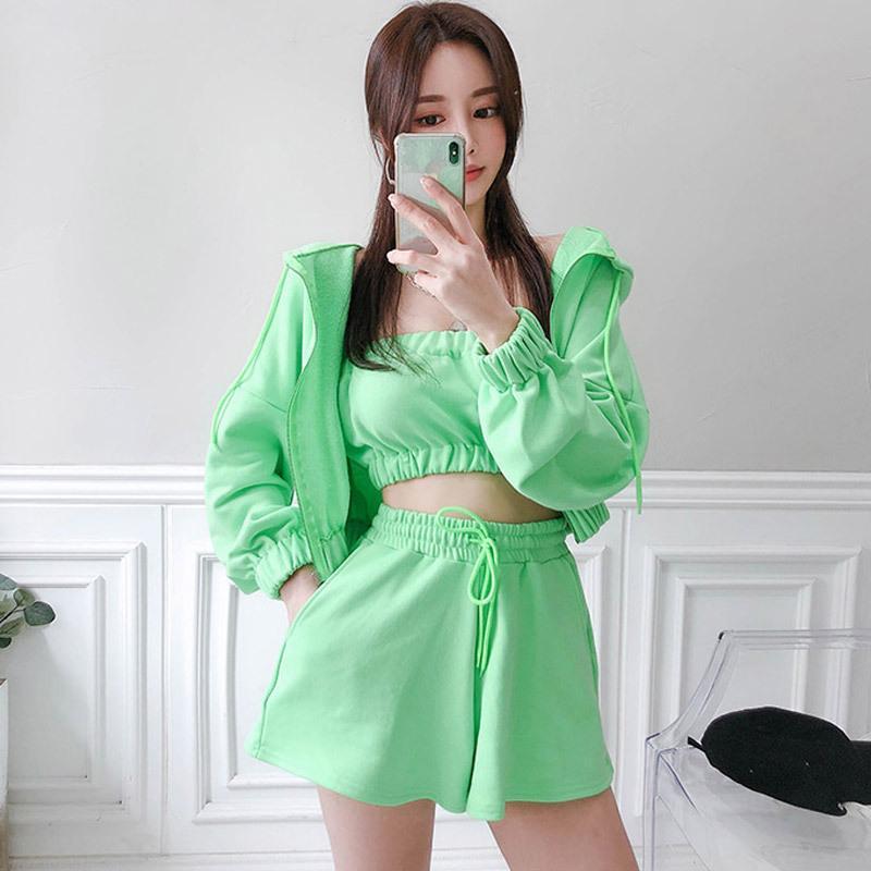 여성 우아한 사무실 숙녀 짧은 바지와 녹색 고체 섹시한 3 개 세트 야외 느슨한 짧은 재킷 새로운 도착 패션 세트
