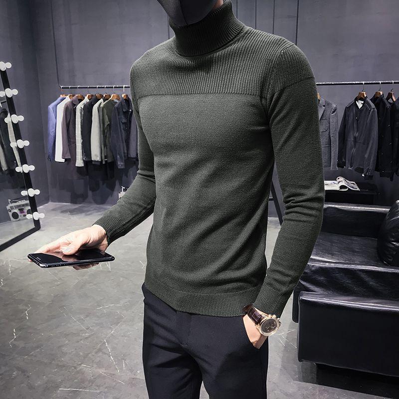 Autunno Inverno Maglione Uomo Turtelneck maglioni caldi Solid maglia Pullover Maschio Maglioni Slim modo casuale Fit Pullover