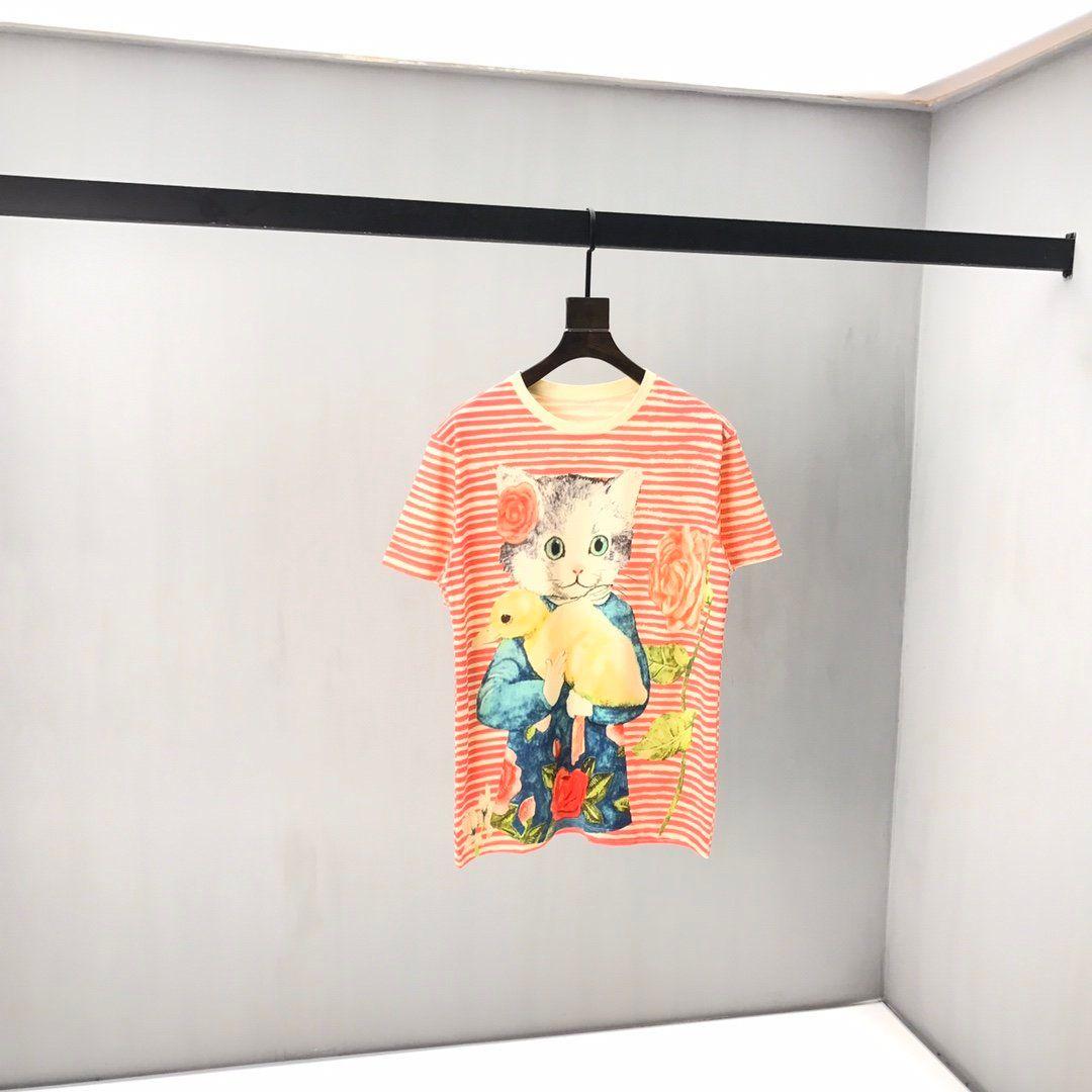 2020 이탈리아어 봄과 여름 혼합면 야생 최고 TEE 남성 디자이너 고품질 패션 느슨한 만화 낙서 줄무늬 고양이 숙녀 티