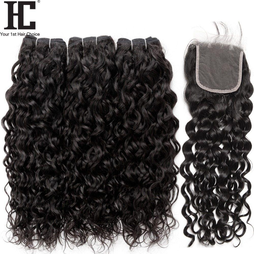 Brazilian Virgin Hair Water Wave Bundles With Closure 4 Pcs/Lot Brazilian Hair Weave Wet And Wavy Human Hair 3 Bundles With Lace Closure