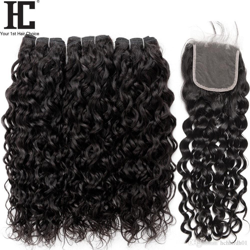 Fasci di capelli onda vergine brasiliana con chiusura 4 pezzi / lotto tessuto dei capelli brasiliano bagnato ed ondulato capelli umani 3 pacchi con chiusura in pizzo