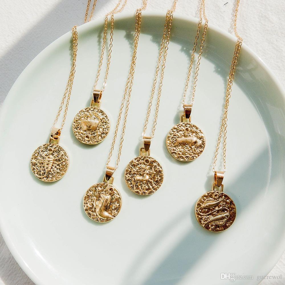 Altın Zincir Dövme Metal Kabartma 12 Zodyak Burç Astroloji Kolye Kolye Retro Moda Boyun Takı Minimalist Yuvarlak Charm Aksesuarla