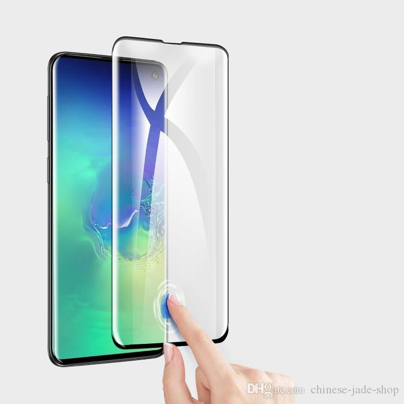 Apoyo a la huella digital Desbloquear 3D Protector de pantalla de vidrio templado curvado 3D para Samsung Galaxy S10 S10 PLUS 400pcs / lot