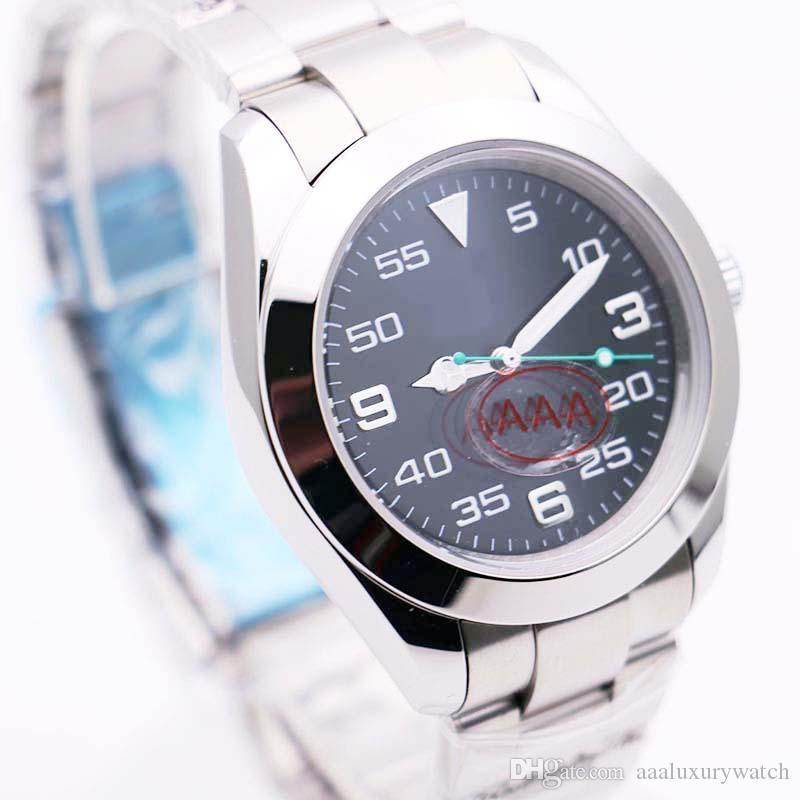 Meilleur Vente Gentlemens Wristwatch Montre Cadran Noir Hommes 40mm Automatique Mouvement Rapide AIRKING En Acier Inoxydable 116900 Montres 003