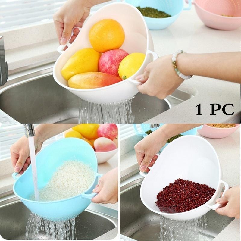 Double poignée de riz Laveuse Quinoa Passoire cuisine Nettoyage des outils Veggie Fruit